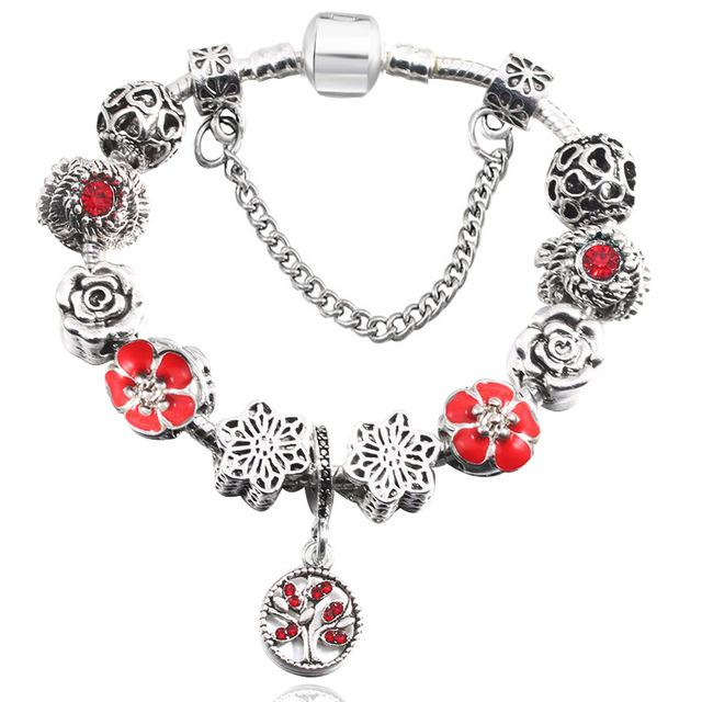 European Style Vintage Silver plated Crystal Charm Bracelet Women fit Original DIY Fne Bracelet Jewelry