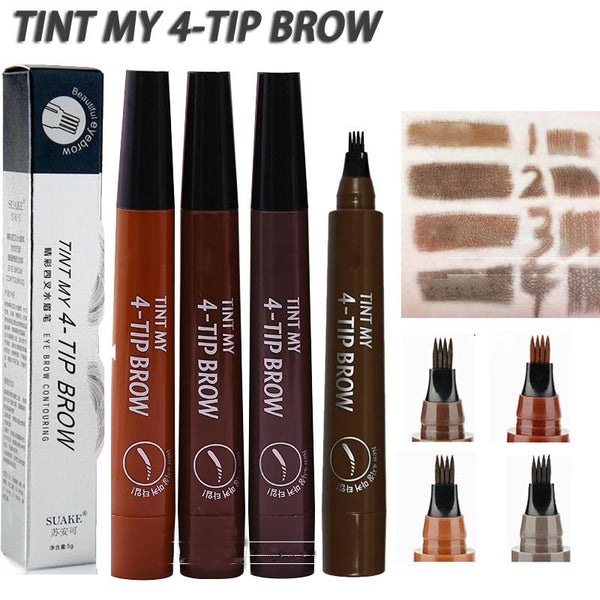 4 TIP Eyebrow Tattoo Pen - Microblading Eyebrow Pen with a Micro-Fork Tip Applicator Creates Natural Looking Brows Effortlessly