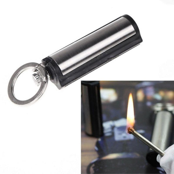 New Fashion Permanent Striker Lighter Match Silver Metal Key Chain