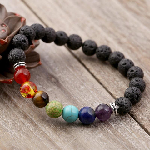 Men Women 8mm Lava Rock 7 Chakra Aromatherapy Essential Oil Diffuser Bracelet