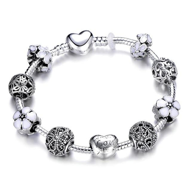HOMOD Authentic Silver Plated 925 Crown Beads Key Crystal Heart Charm Bracelet DIY Jewelry