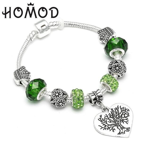HOMOD Vintage Green Crystal Silver-Plated Tree of Life Brand Charm Bracelets Snake Chain Jewelry For Women Pulseras
