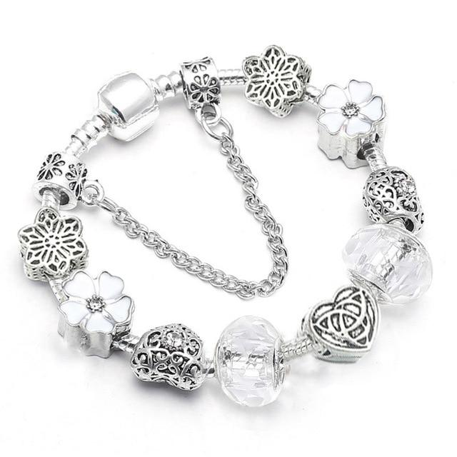 BAOPON High Quality Silver plated Murano Crystal Beads Pandora Bracelet| European Charm Bracelet for Women Jewelry