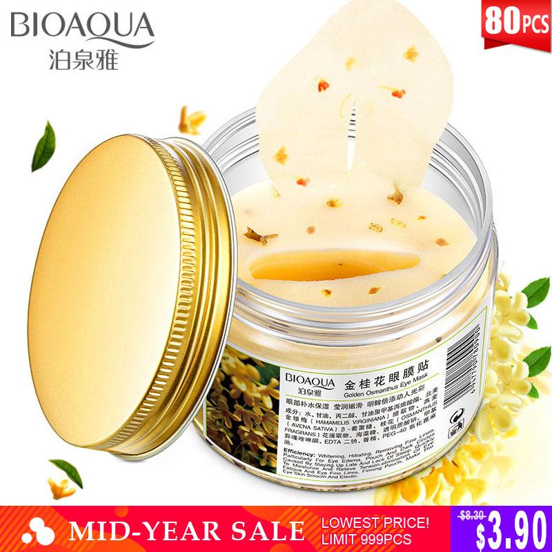 STANDOUT NATURAL CARE 80Pcs Gold Osmanthus Eye Patches |  80Pcs Mask Collagen Gel  Protein Sleep Patches- Removes Dark Circles