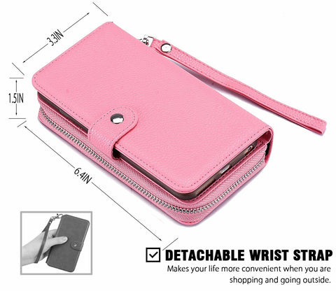 Pink Leather Wallet Purse Case for iPhone 11 Xs Max Samsung S7-10+