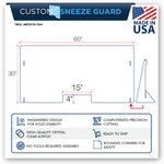 "ACRYLIC PLEXIGLASS SNEEZE GUARD CASHIER COUNTER CHECKOUT 24"" 30"" 48"" 60"""