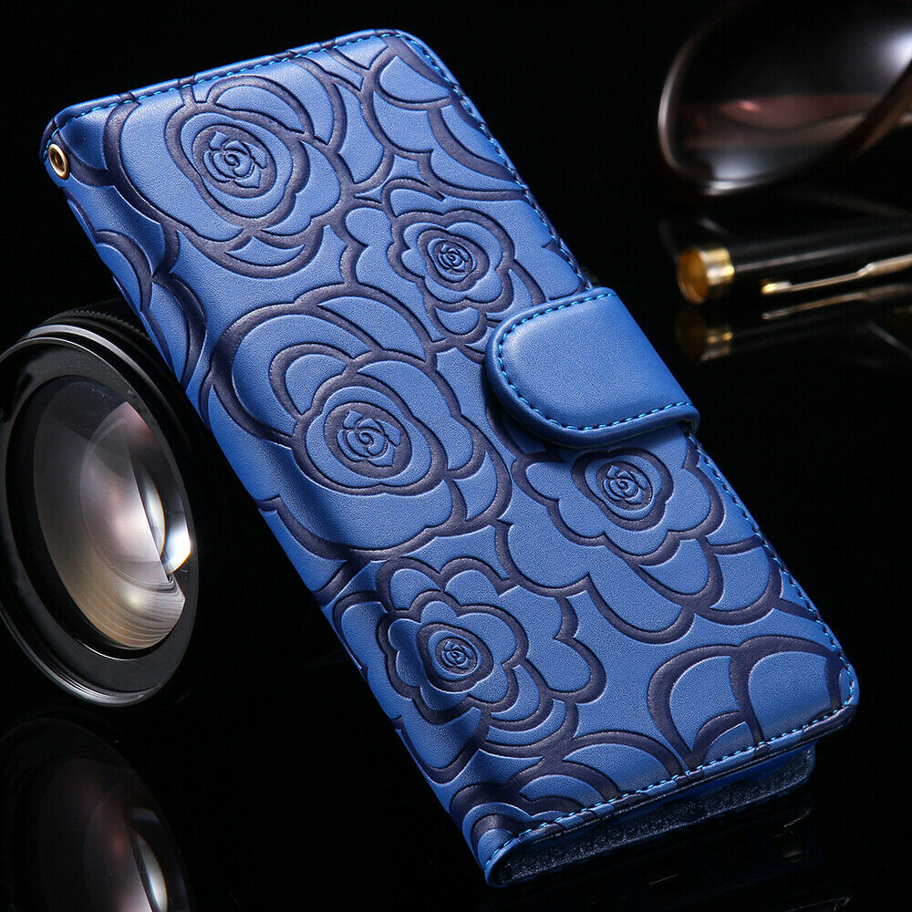Blue  Leather Flip Flower Cover Case Wallet  For Samsung S20 Ultra/S10plus/S9/S8/Notes10