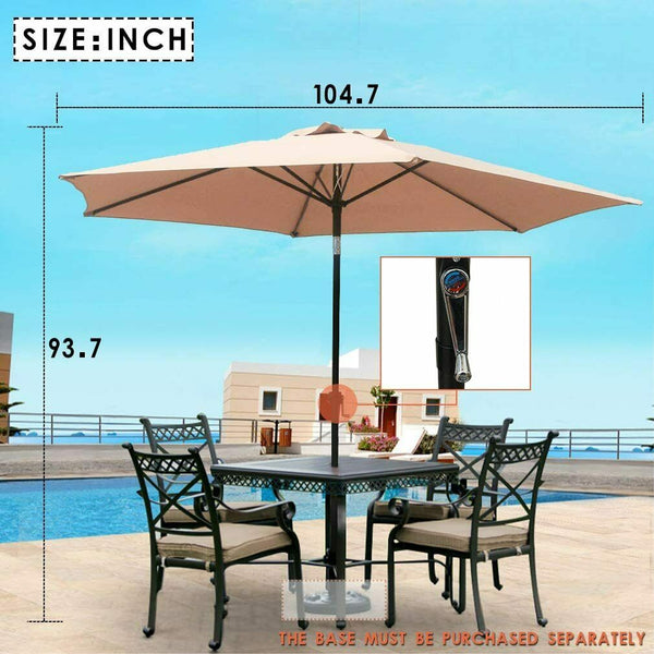 Patio Umbrella 9' Aluminum Outdoor Patio Market Umbrella Tilt W/Crank