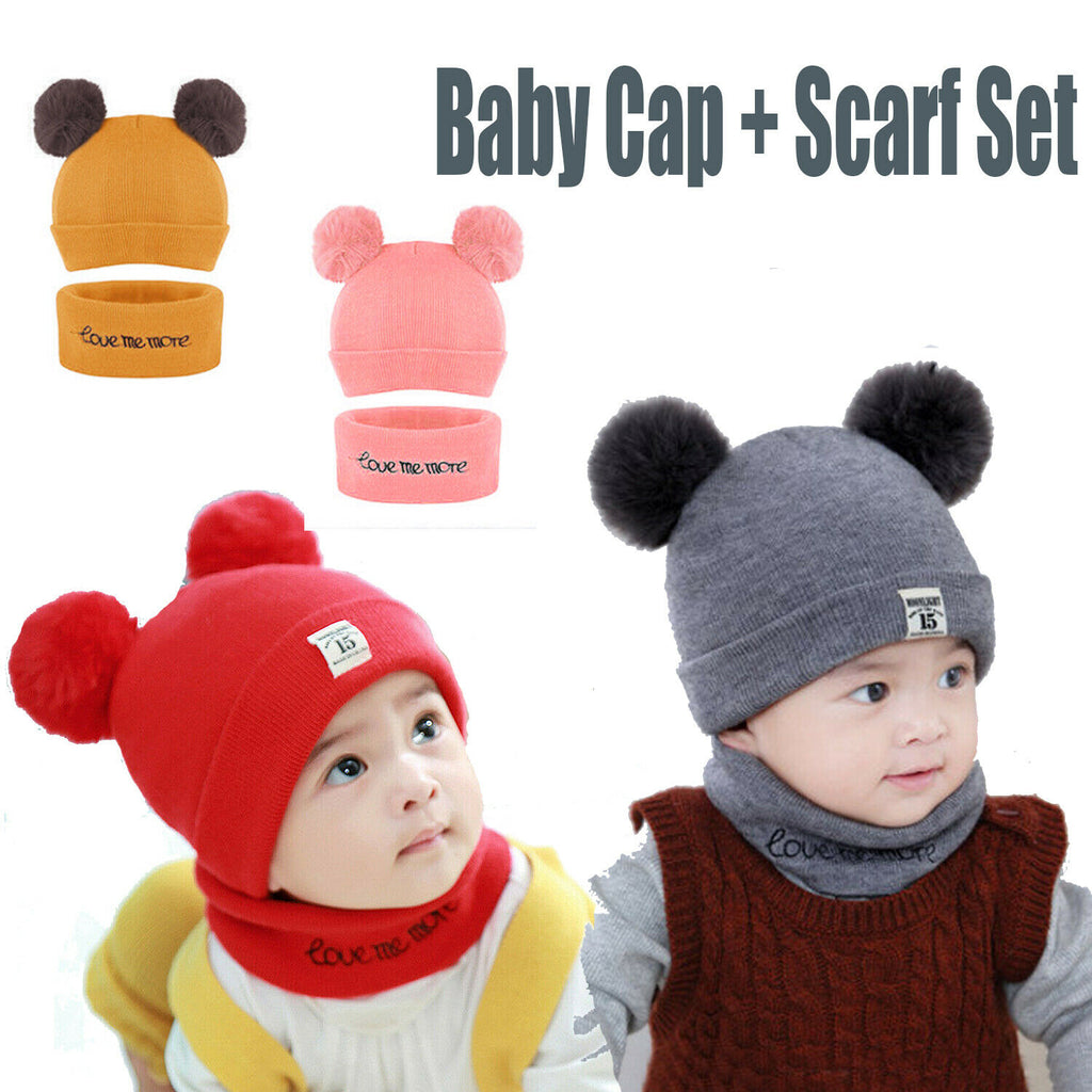 Baby Girls Boys Winter Knit Hat Scarf Set Warm Skull Cover Crochet Beanie Cap