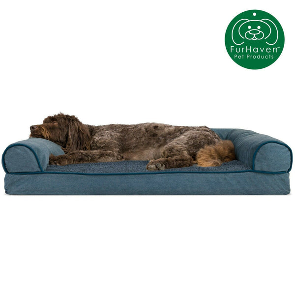 FurHaven Pet Cooling, Orthopedic, Memory Foam Chenille Soft Woven Sofa Dog Bed