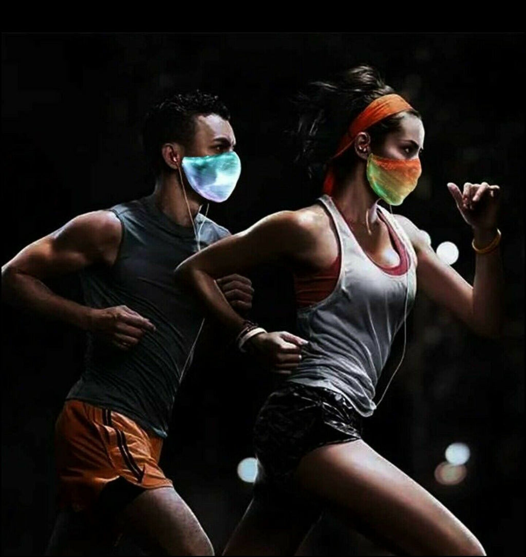 Outdoor Sports Shield LED Fiber Optic Mask  7 Colors + Effects Mode  Rechargeable  For Night Sports Running Festivals - P&Rs House