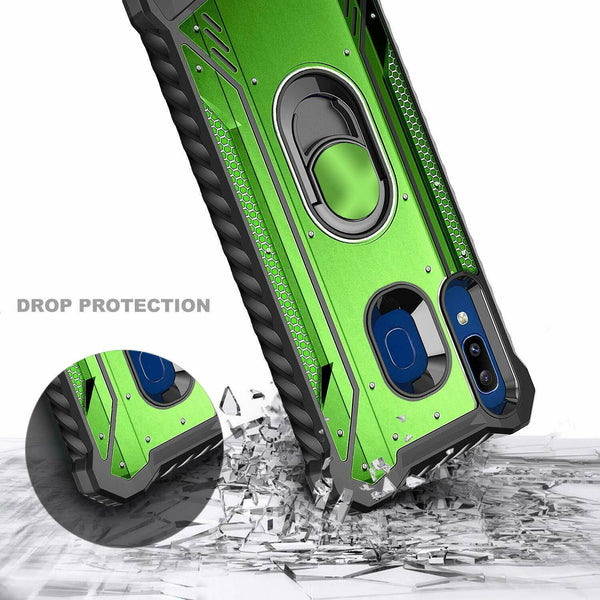 For Samsung Galaxy A10E A20 A50 Case Magnetic Ring Stand Cover + Tempered Glass