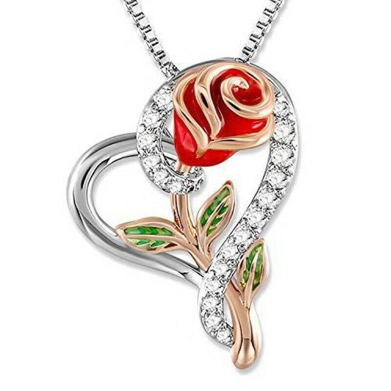 Rose Flower in Heart Pendant Necklace Mom Wife Daughter Jewelry - P&Rs House