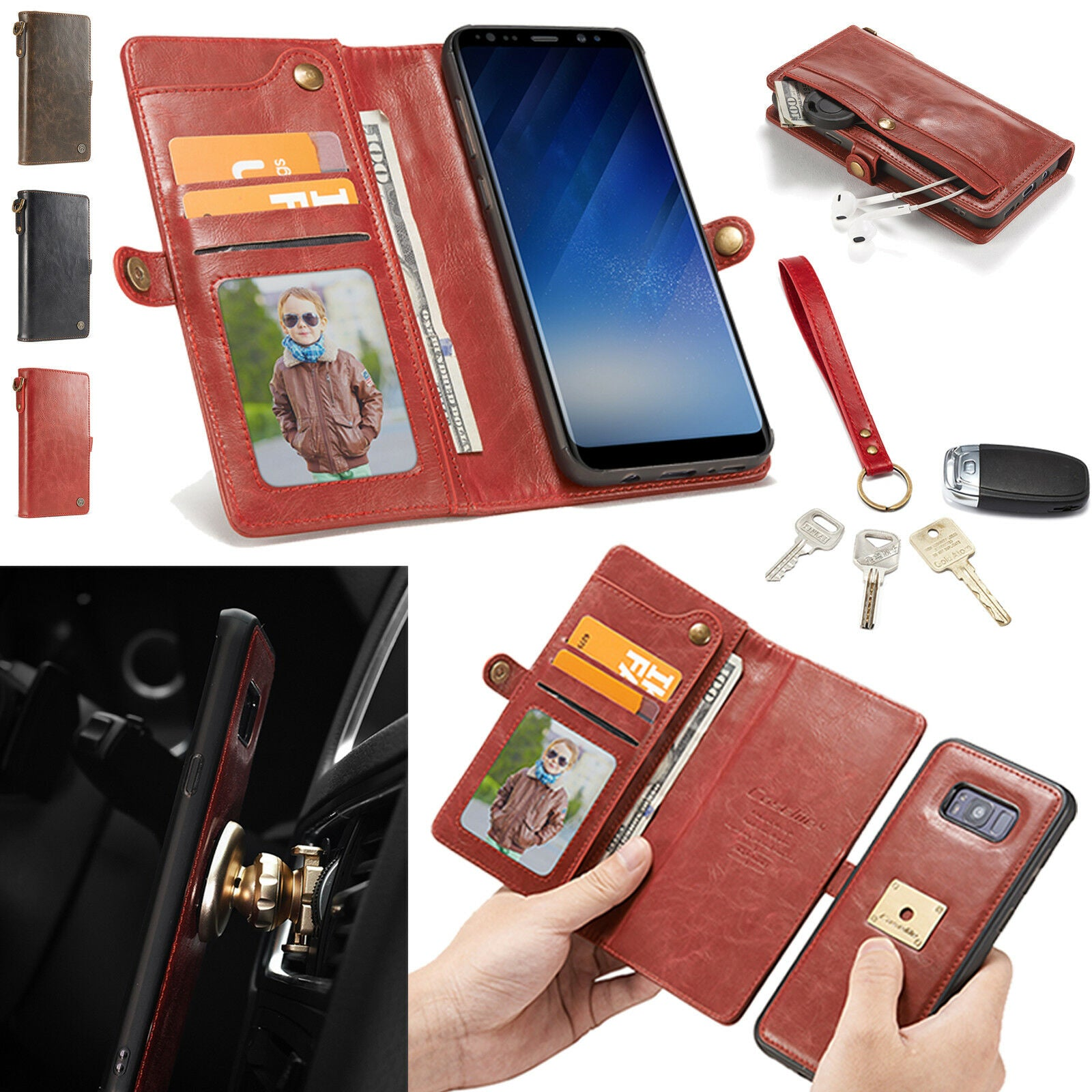 Detachable Leather Strap Wallet Magnetic Flip Card Case For Galaxy Note 9/S9/S8