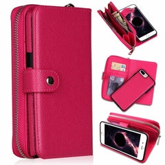 Red Detachable Magnetic Leather Wallet Purse Case for iPhone 11 Xs Max Samsung S10+