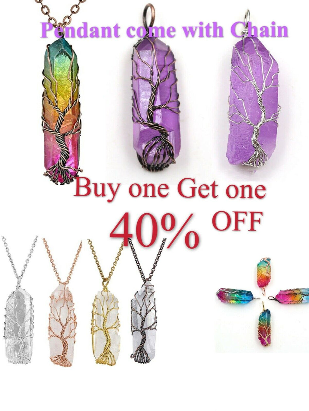 Natural Tree of Life Wire Wrap Rose Crystal Quartz Pendant Necklace Healing Gift - P&Rs House