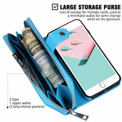 Black Detachable Magnetic Leather Wallet Purse Case for iPhone  Samsung Galaxy