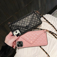 Luxury Leather Card Case with Crossbody Chain for iPhone 11 Pro Max XS XR 6 7 8