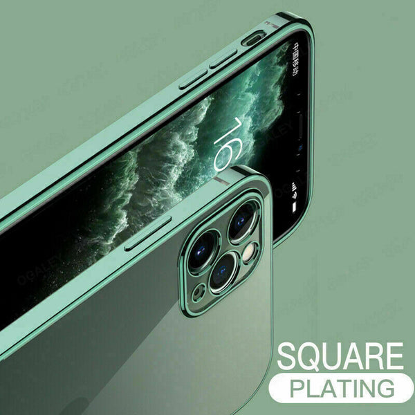 SHOCKPROOF Plating Clear Case For iPhone 12 11 Pro MAX Mini XR XS 7/8 PLUS Cover