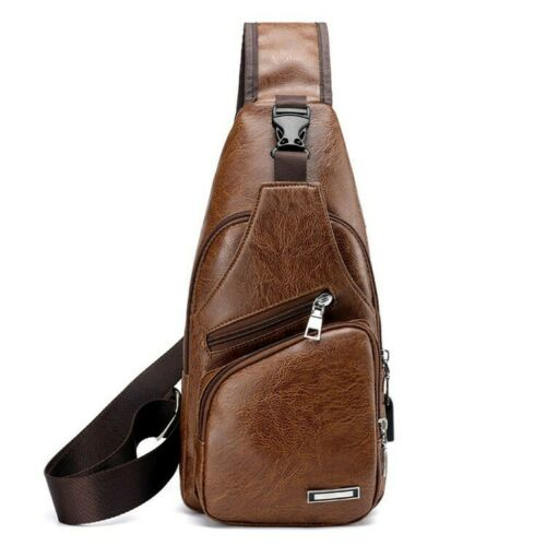 Men's Leather Sling Chest Pack Cross Body Shoulder USB Charging Port Sport Bag