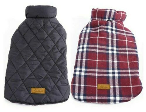Kuoser Cozy Waterproof Windproof Reversible Brit Style Plaid Dog Vest Red LRG