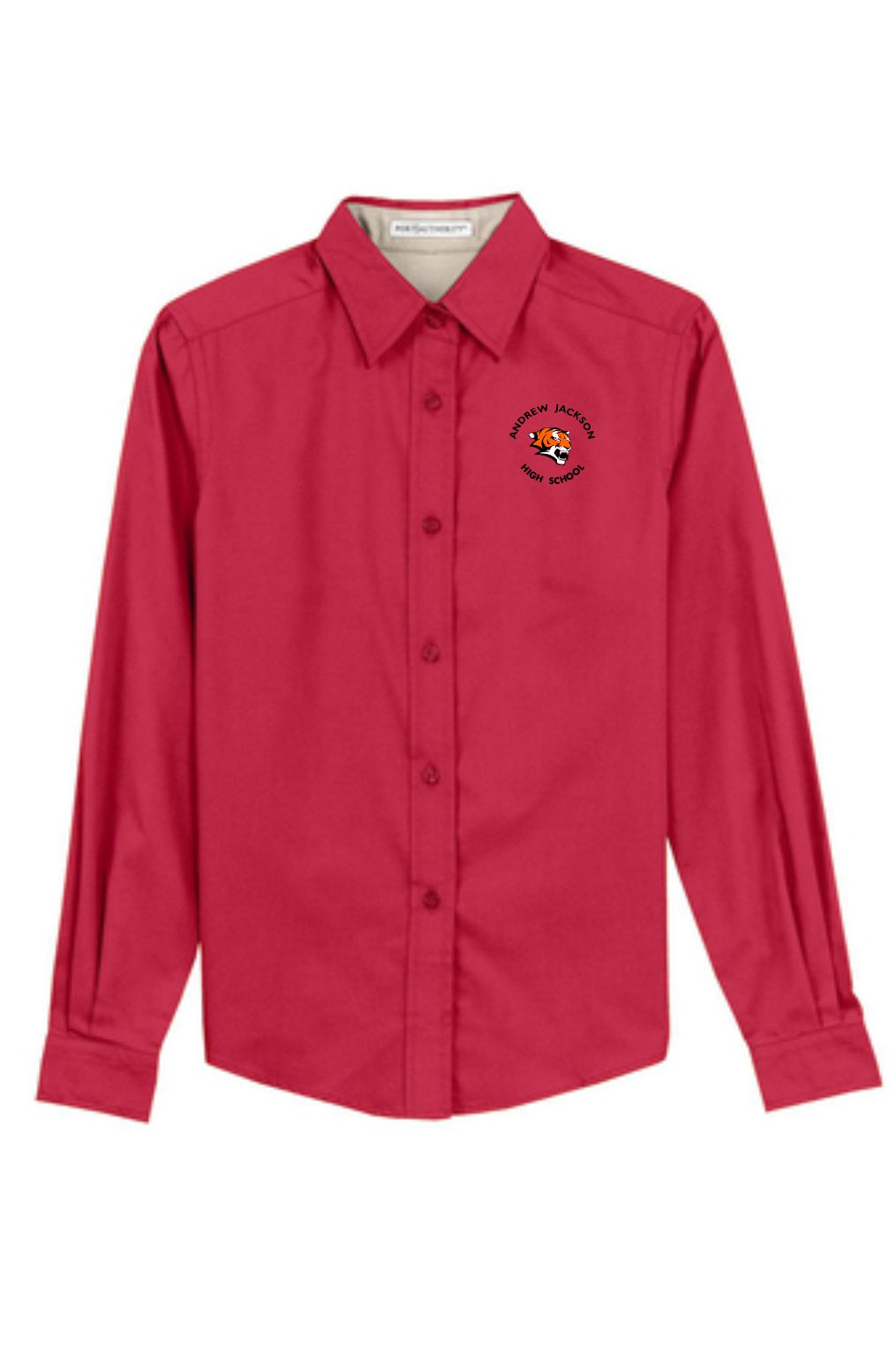 Red AJHS Female Long Sleeve Button Up Shirt