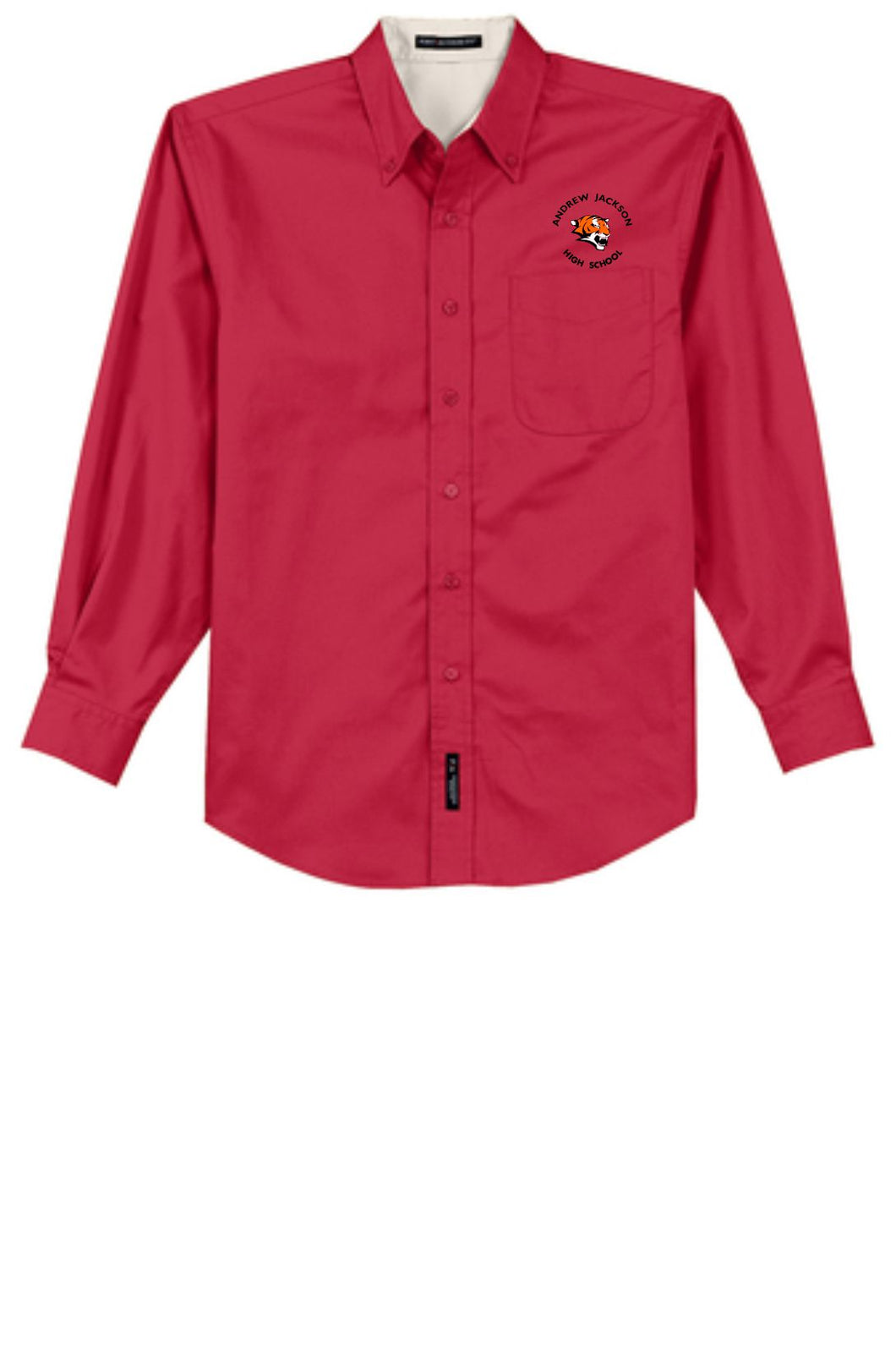 Red AJHS Male Long Sleeve Button Up Shirt