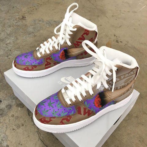 Verde enlace Calle  RAW Rolling Paper Themed Custom Painted Nike Air Force 1 – VPRZRS