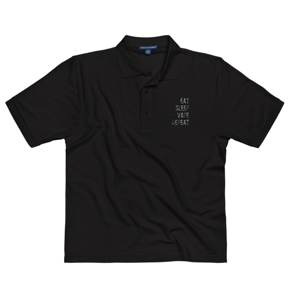EAT SLEEP VAPE REPEAT Premium Embroidered Polo Shirt