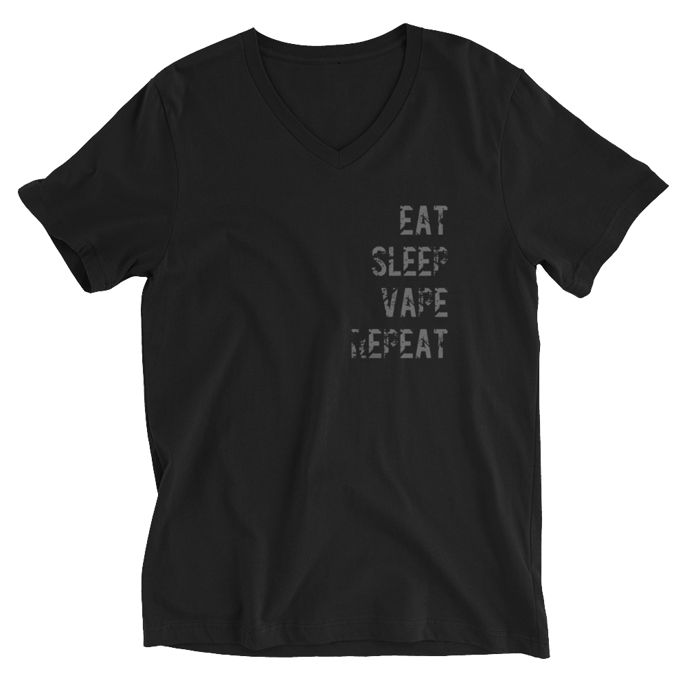 EAT SLEEP VAPE REPEAT V-Neck Unisex Black Tee