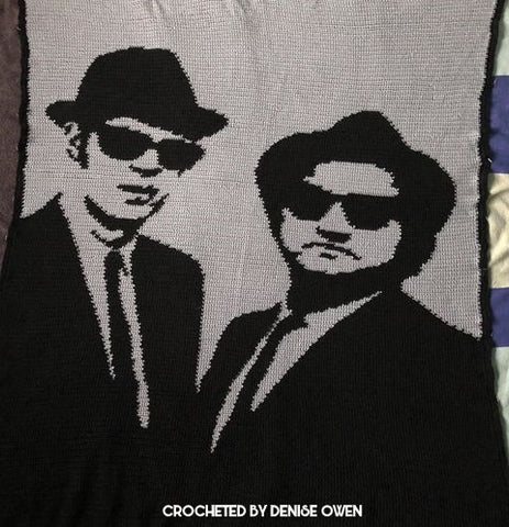 Blues Brothers Crochet Graphghan