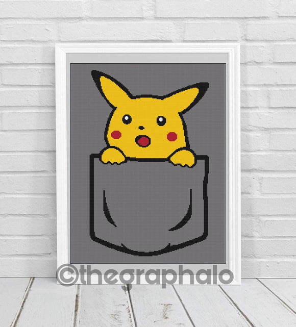 Pocket Pikachu Crochet Graphghan Pattern SC180x260