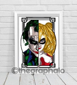 Cross Stitch Joker and Harley Quinn Pattern
