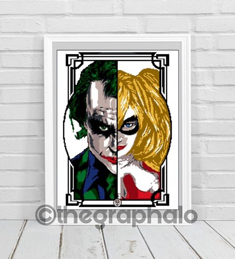 Joker and Harley Quinn Crochet Graphghan Pattern SC 180 x 246