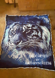 Blue Tiger crocheted blanket