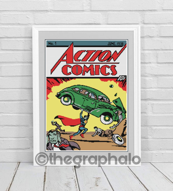 Action Comics #1 Crochet Graphghan PATTERN SC 182 X 284