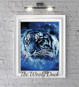 Cross Stitch Majestic Blue Tiger Pattern