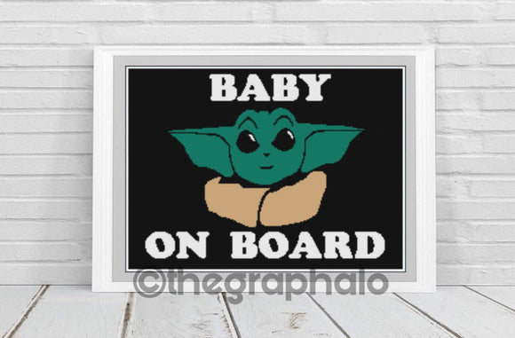 Baby Yoda On Board Crochet Graphghan Pattern SC 180 x 240
