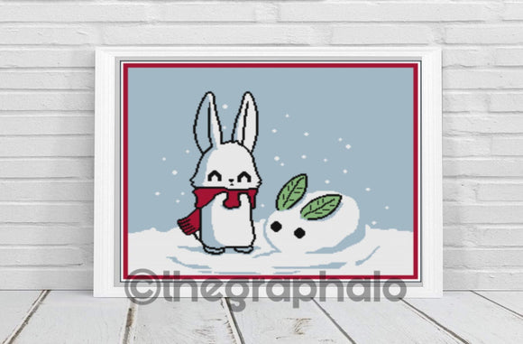 Bad Bunny: Snow Bunny Cross Stitch Pattern