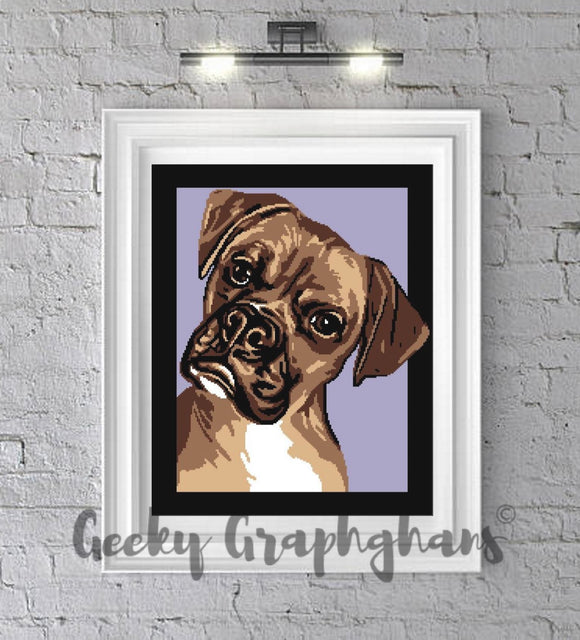 Framed Boxer Dog Crochet Graphghan Pattern