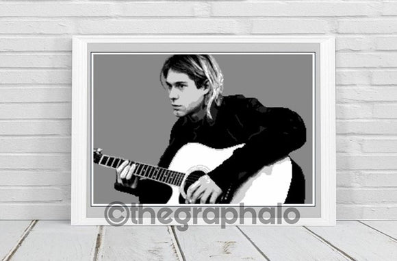 Kurt Cobain 1988 Nirvana Crochet Graphghan Pattern Single Crochet