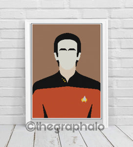 Star Trek: Lt Cmdr Data Crochet Graphghan Pattern