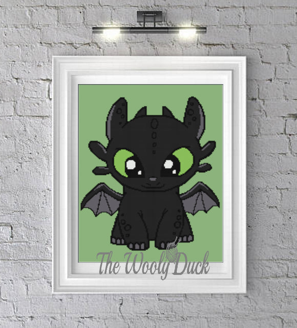 Cross Stitch Baby Night Fury Inspired Pattern
