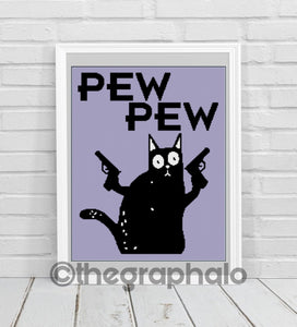 Pew Pew: Murder Cat Graphghan Pattern