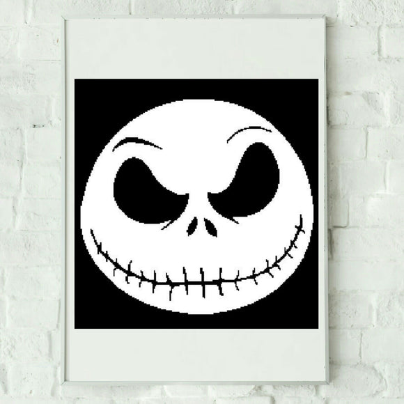 Jack Skellington Graphhghan Crochet Pattern SC 200 x 205