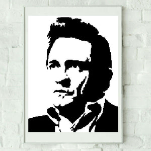 Johnny Cash Silhouette Graphghan Crochet Pattern SC 210 x 270