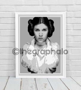 Carrie Fisher Inspired Crochet Photoghan Portrait