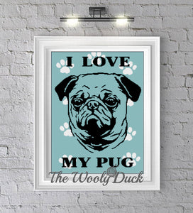 I Love My Pug Crochet Graphghan Pattern