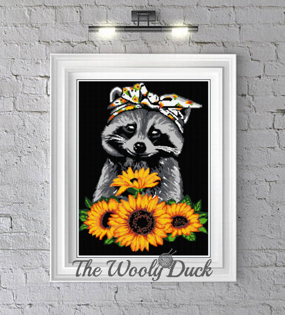 Racoon Sunflowers crochet graphghan pattern