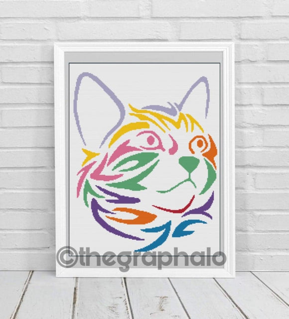 Rainbow Kitty Crochet Graphghan Pattern SC 180 x 240